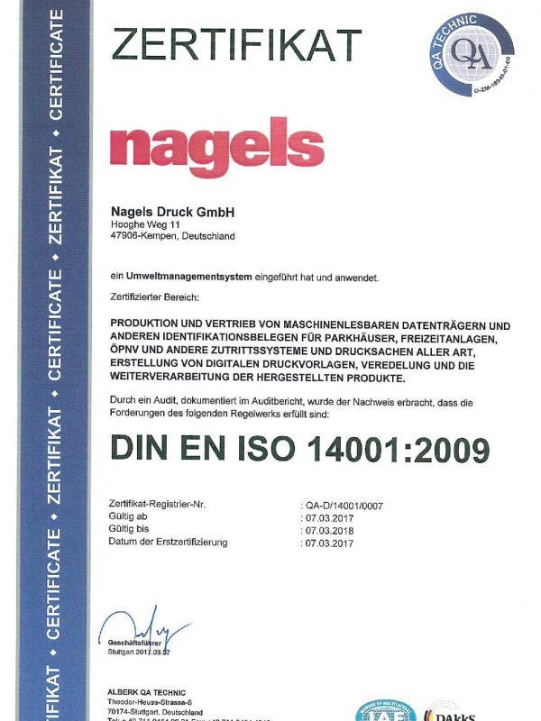ISO 14001 Zertifikat nagels