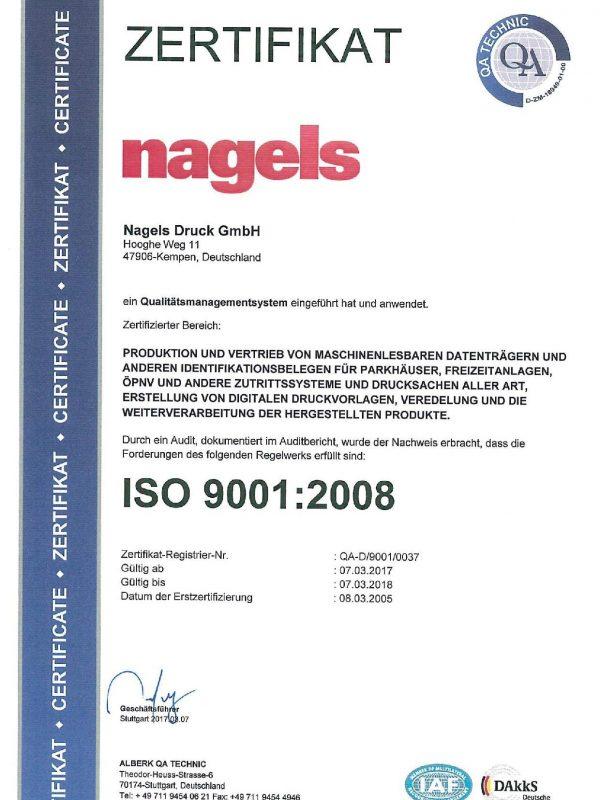 ISO 9001 Zertifikat nagels