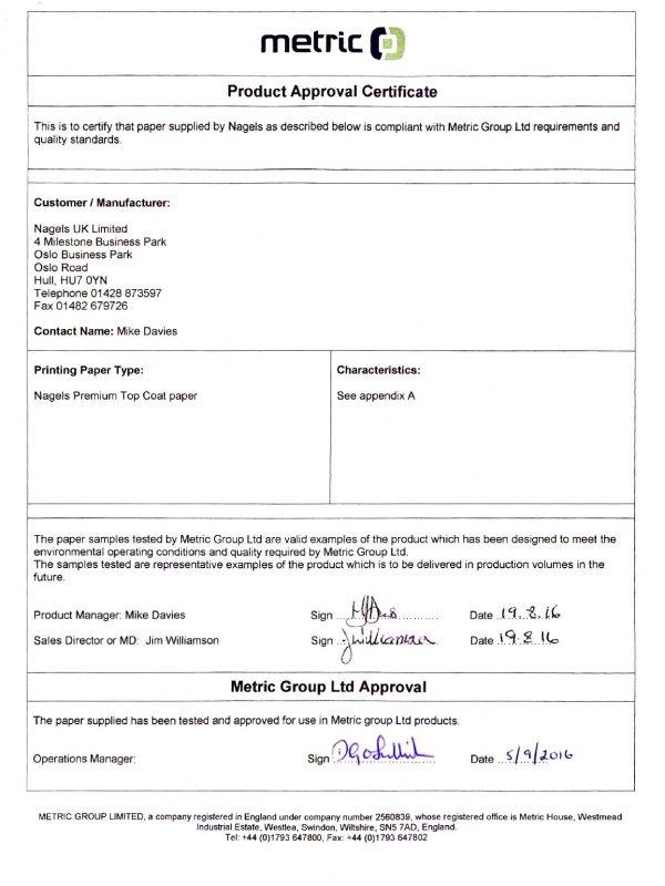Certificate Metric 2016