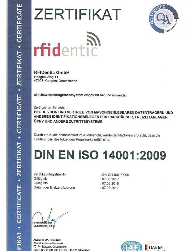 ISO 14001 Zertifikat RFIDentic
