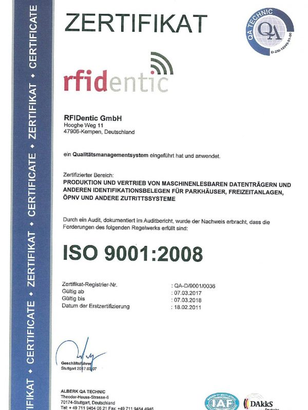 ISO 9001 Zertifikat RFIDentic