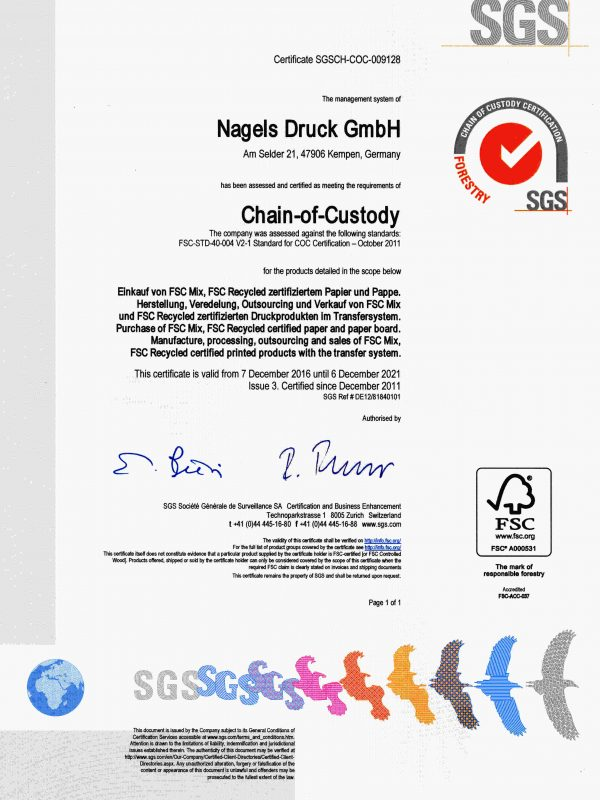 Certificate SGS FSC 2016