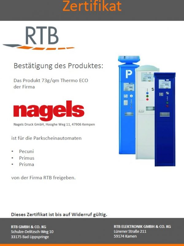 Certificate RTB for nagels